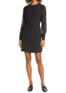 Club Monaco Sheer Play Long Sleeve Silk Shirtdress