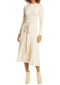 Club Monaco Tie Waist Long Sleeve Dress
