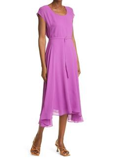 Petite Women's Club Monaco Belted Silk Midi Dress