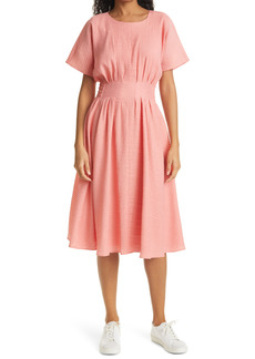 Petite Women's Club Monaco Seersucker Fit & Flare Dress