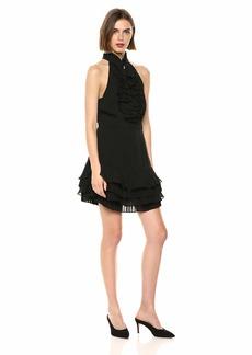 C/Meo Collective Women's Big Picture Victorian Ruffle Fit & Flare Short Mini Dress  m