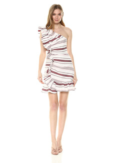 C/Meo Collective Women's ON HER OWN ONE Shoulder Ruffle Mini Dress  S