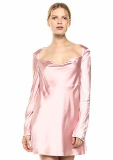 C/Meo Collective Women's Polarised Long Sleeve Square Neck Short Mini Dress  l