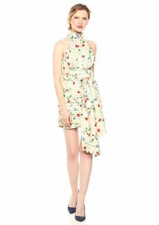 C/Meo Collective Women's Sectional Sleeveless Halter Shirred Mini Dress  XS