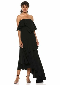 C/Meo Collective Women's with You Strapless Ruffle Top Maxi Gown Dress  s