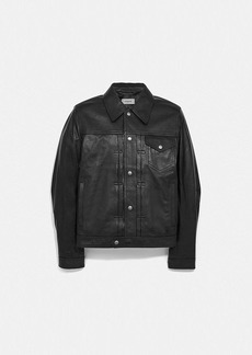 Coach leather trucker jacket