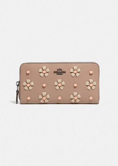 Coach accordion zip wallet with tea rose knot