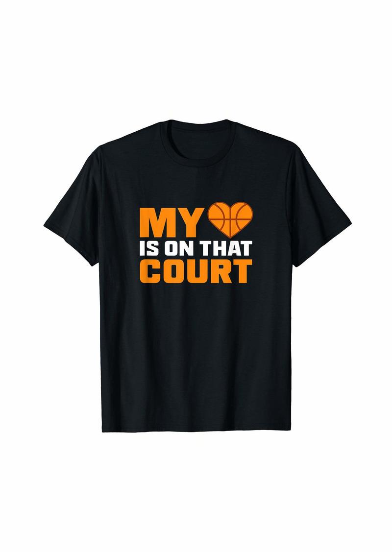 Coach Basketball Design My Heart On Court Gift T-Shirt