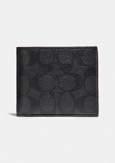 Coach compact id wallet in signature canvas