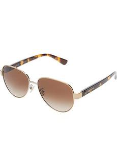 Coach HC7111 57 mm Aviator Metal Sunglasses