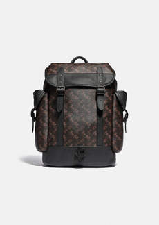 Coach hitch backpack with horse and carriage print