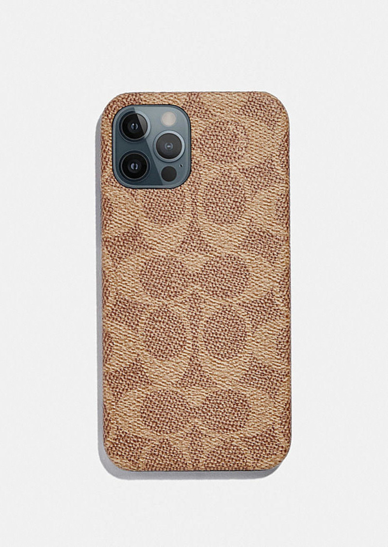 Coach iphone 12 pro case in signature canvas