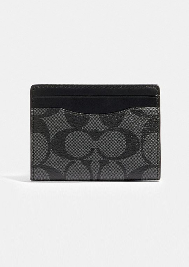 Coach magnetic card case in signature canvas