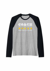 Mens Coach 5 Star Review. Perfect Recommended Gift for Coach Raglan Baseball Tee