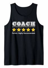 Mens Coach Dad 5 Stars Perfect Funny Gifts for Coach Fathers Day Tank Top