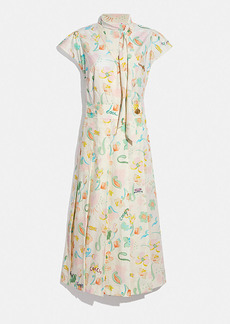 Coach printed tie neck pleated dress