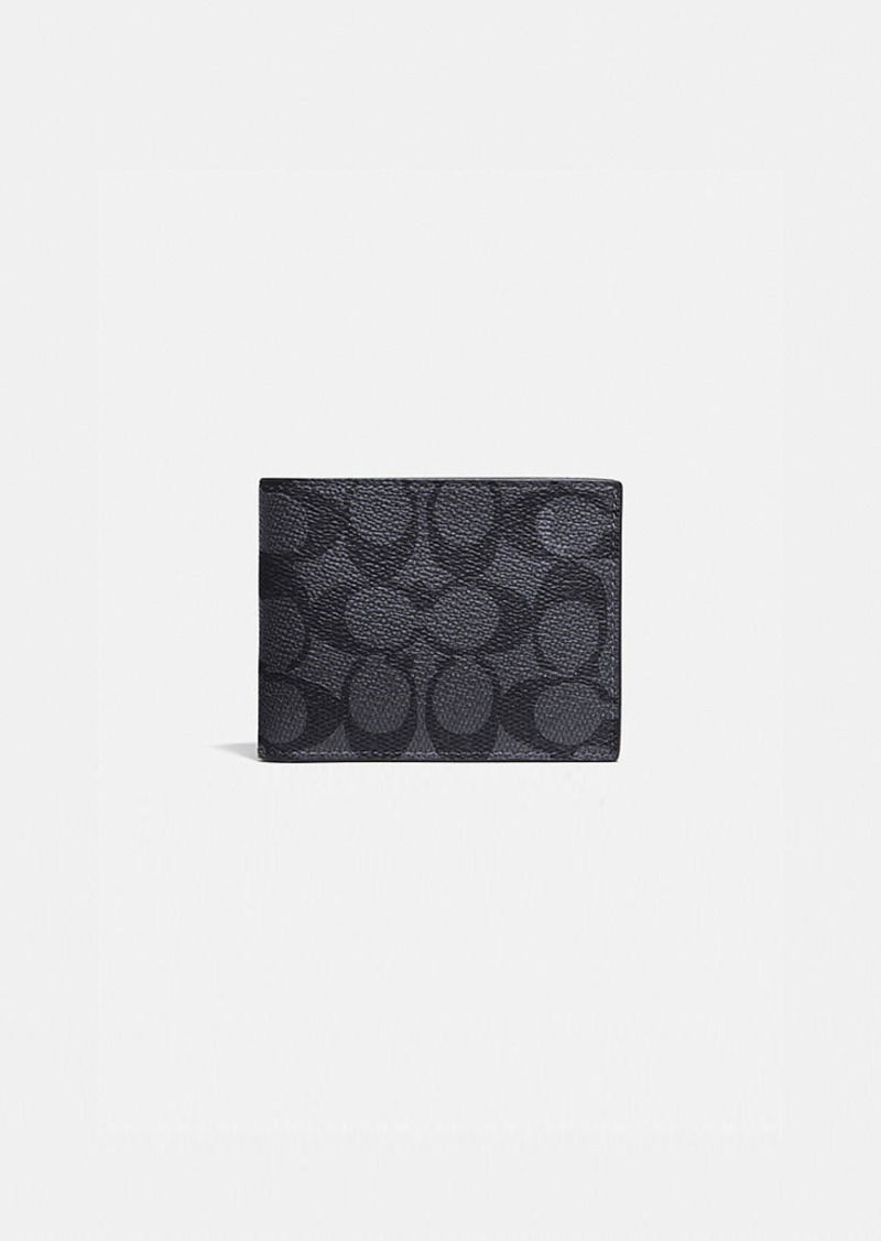 Coach slim billfold wallet in signature canvas