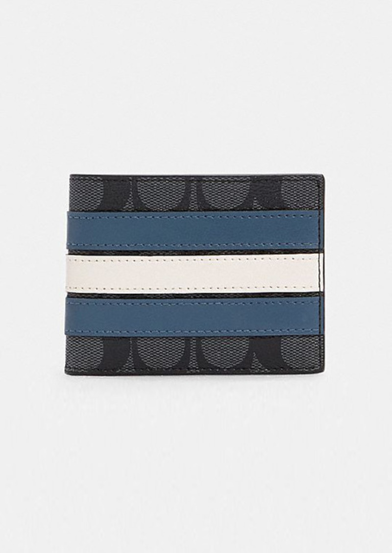 Coach slim billfold wallet in signature canvas with...