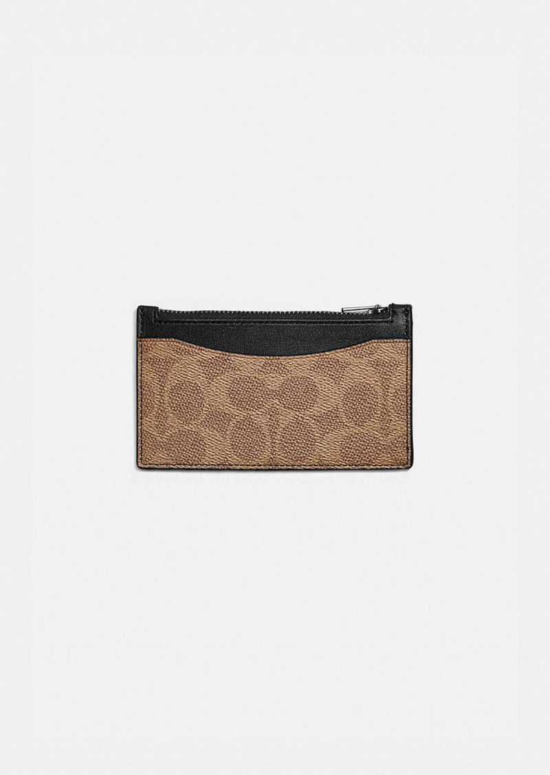 Coach zip card case in signature canvas