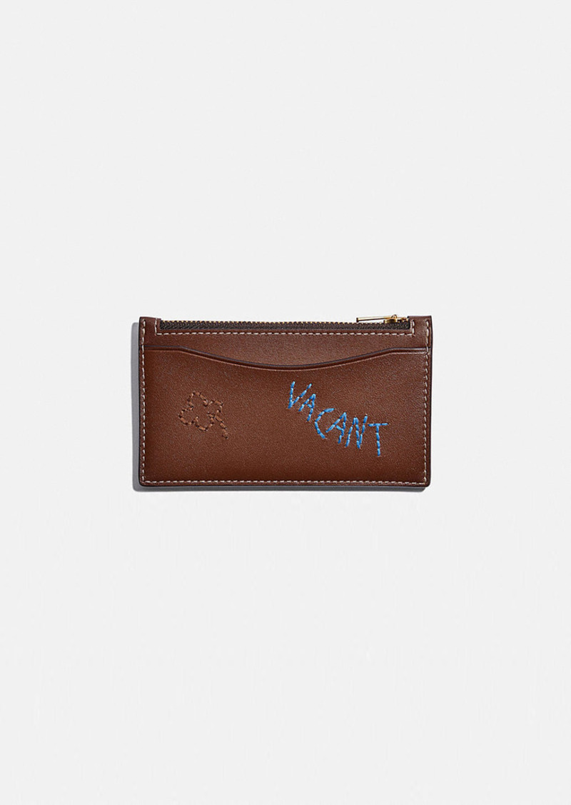 Coach zip card case with embroidery