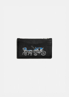 Coach zip card case with horse and carriage
