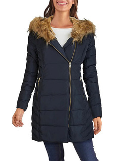 Cole Haan Faux Fur-Trim Hooded Quilted Jacket