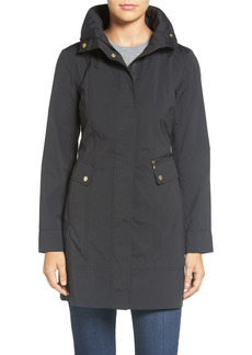 Petite Women's Cole Haan Signature Back Bow Packable Hooded Raincoat