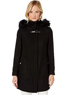 Cole Haan Wool Twill Hooded Duffle Coat w/ Faux Fur Trim
