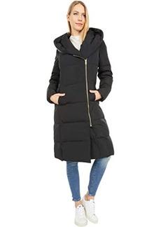 Cole Haan Zip Front Down Coat w/ Dramatic Oversized Hood