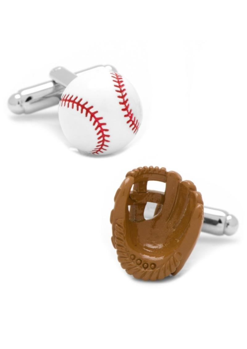 Cufflinks Inc. 3D Baseball and Glove Enamel Cufflinks