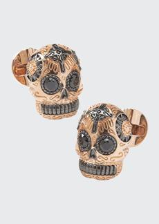 Cufflinks Inc. Men's Rose Gold & Black Day of the Dead Skull Cufflinks