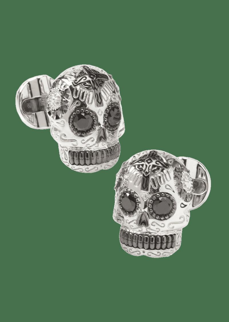 Cufflinks Inc. Men's Silver & Black Day of the Dead Skull Cufflinks