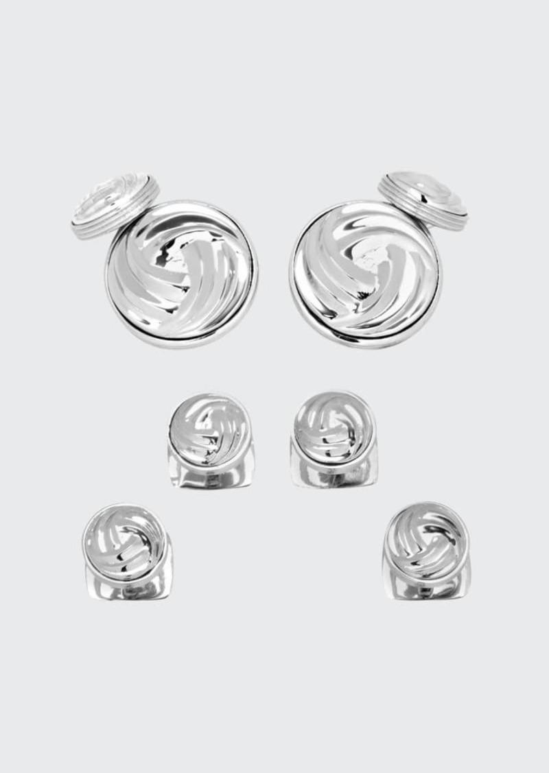 Cufflinks Inc. Modern Knot Sterling Silver Cuff Links & Stud Set