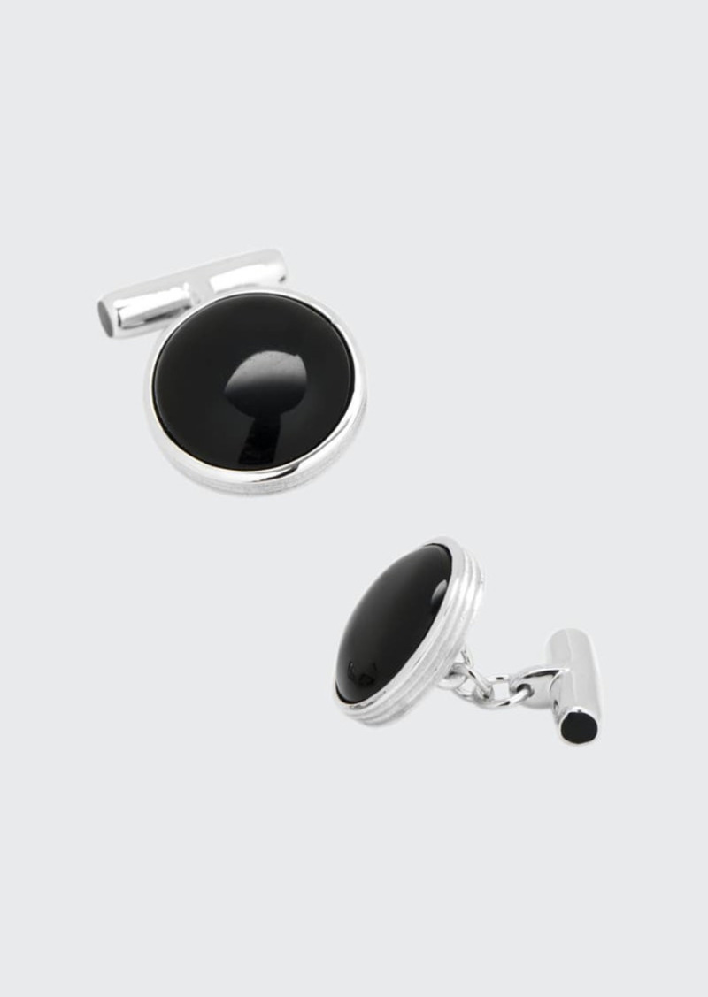 Cufflinks Inc. Sterling Silver Cuff Links with Ribbed Onyx