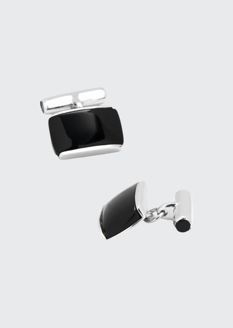 Cufflinks Inc. Sterling Silver Cushion Cuff Links with Onyx Inlay