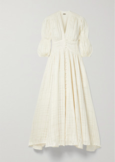 Cult Gaia Willow Checked Linen-gauze Midi Dress