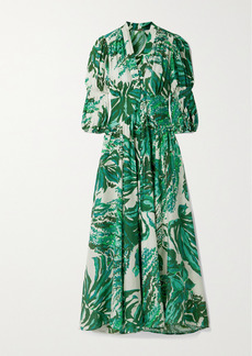 Cult Gaia Willow Printed Cotton And Silk-blend Voile Midi Dress