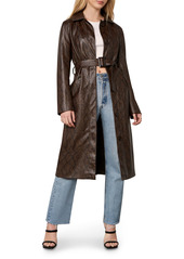 cupcakes and cashmere Julian Snake Embossed Faux Leather Trench Coat
