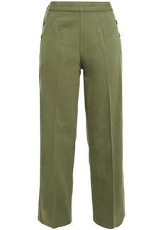 Current/elliott Woman Cotton And Linen-blend Canvas Straight-leg Pants Army Green