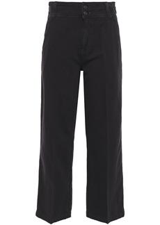 Current/elliott Woman Cotton And Linen-blend Canvas Straight-leg Pants Black