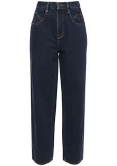 Current/elliott Woman Full Barrel High-rise Wide-leg Jeans Dark Denim