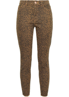 Current/elliott Woman Leopard-print Mid-rise Skinny Jeans Mustard