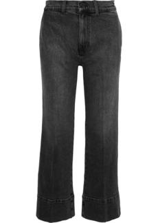 Current/elliott Woman The Cropped Camp Faded Mid-rise Straight-leg Jeans Dark Denim