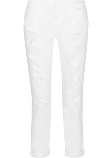 Current/elliott Woman The Fling Distressed Mid-rise Slim-leg Jeans White