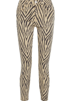 Current/elliott Woman The High Waist Ankle Tiger-print High-rise Skinny Jeans Beige
