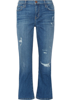 Current/elliott Woman The Kick Distressed Mid-rise Kick-flare Jeans Mid Denim
