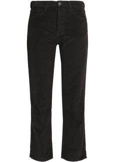 Current/elliott Woman The Original Straight Cropped Cotton-corduroy Straight-leg Pants Charcoal