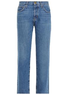 Current/elliott Woman The Original Straight Cropped High-rise Straight-leg Jeans Mid Denim