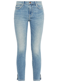 Current/elliott Woman The Stiletto Cropped Mid-rise Skinny Jeans Mid Denim