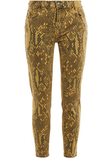 Current/elliott Woman The Stiletto Snake-print Mid-rise Skinny Jeans Army Green